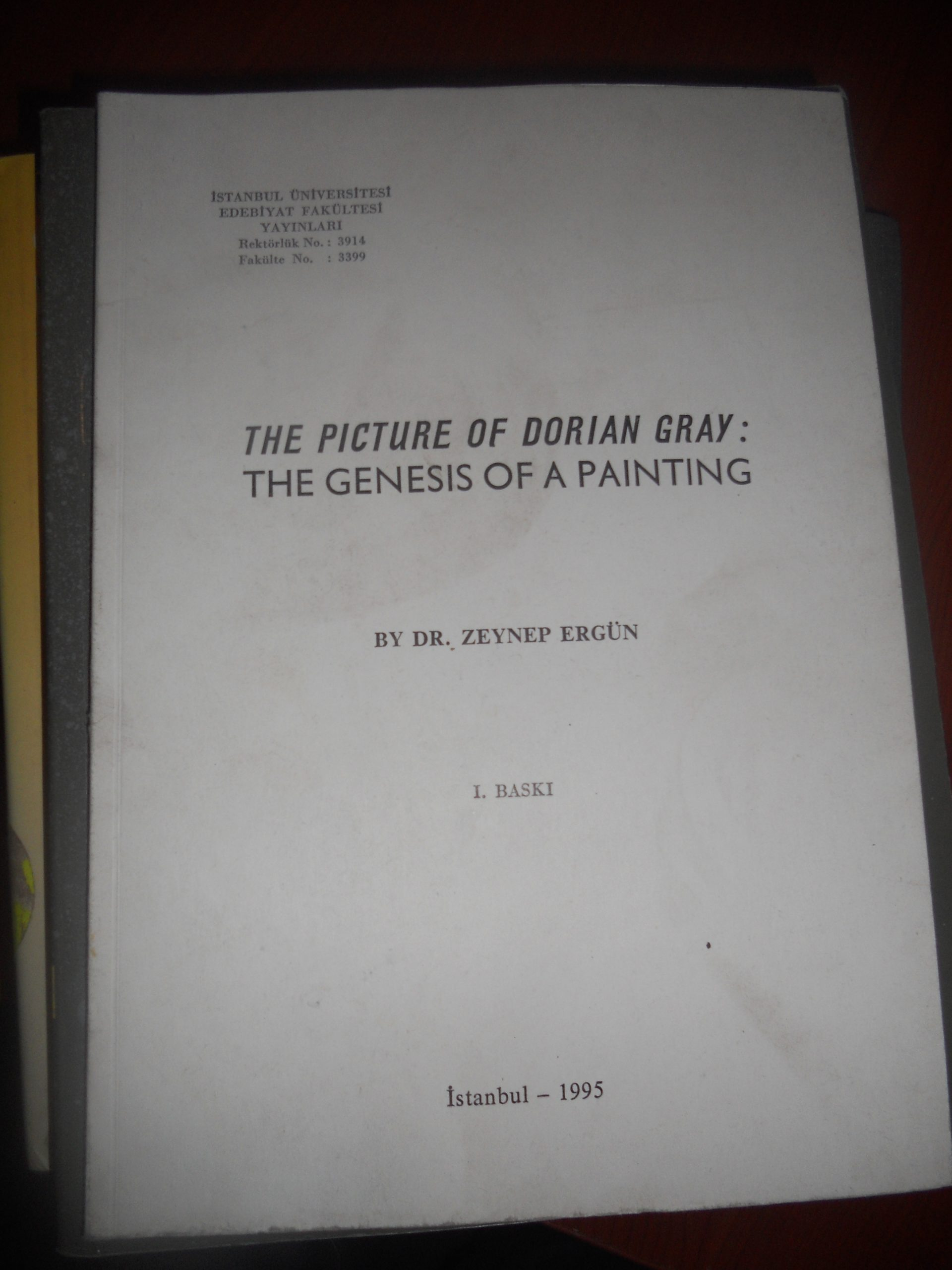 THE PICTURE OF DORIAN GRAY(The Genesıs of Paıntıng)/Zeynep Ergün/20tl