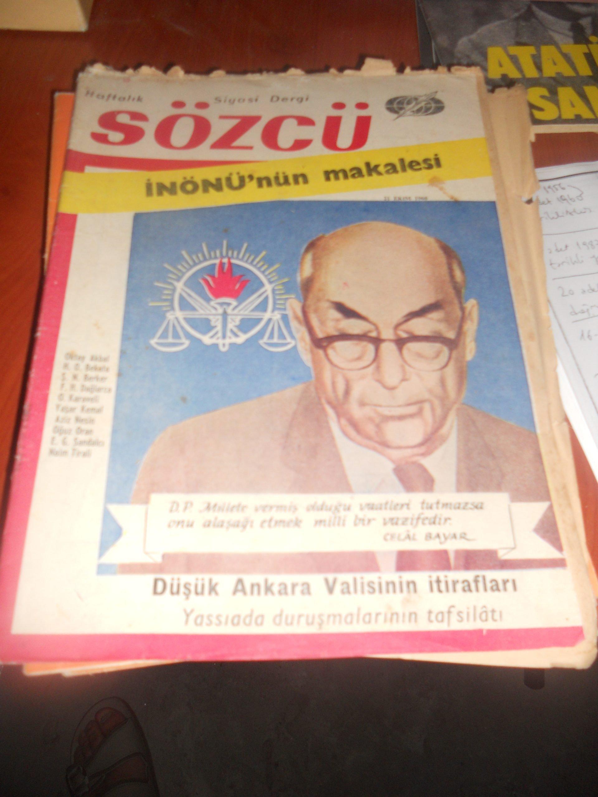 SÖZCÜ DERGİSİ/İNÖNÜ MAKALESİ/21 EKİM 1960/1 adet/10 tl