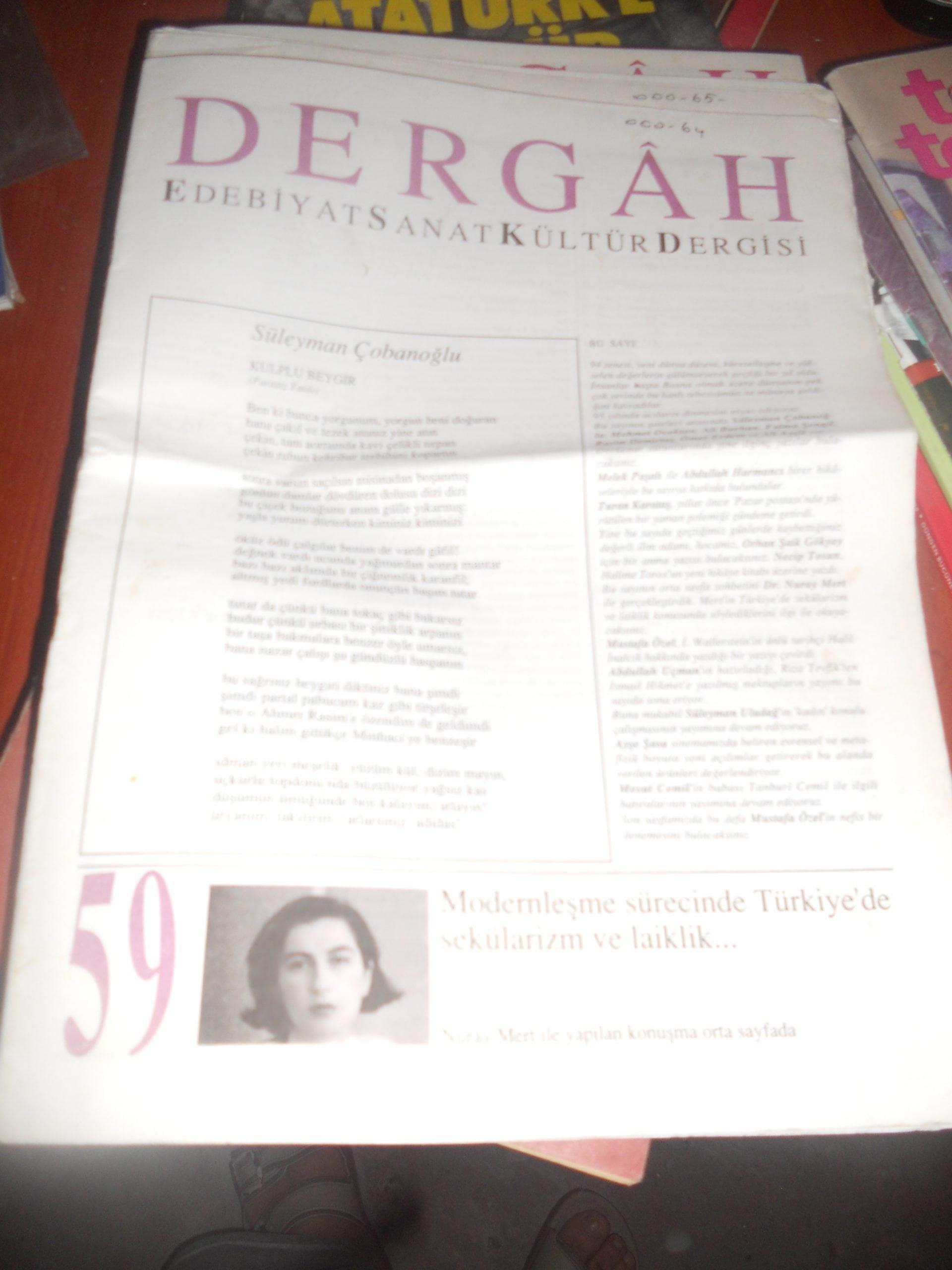 DERGAH-Edebiyat derg/ 3 adet/ 10 tl