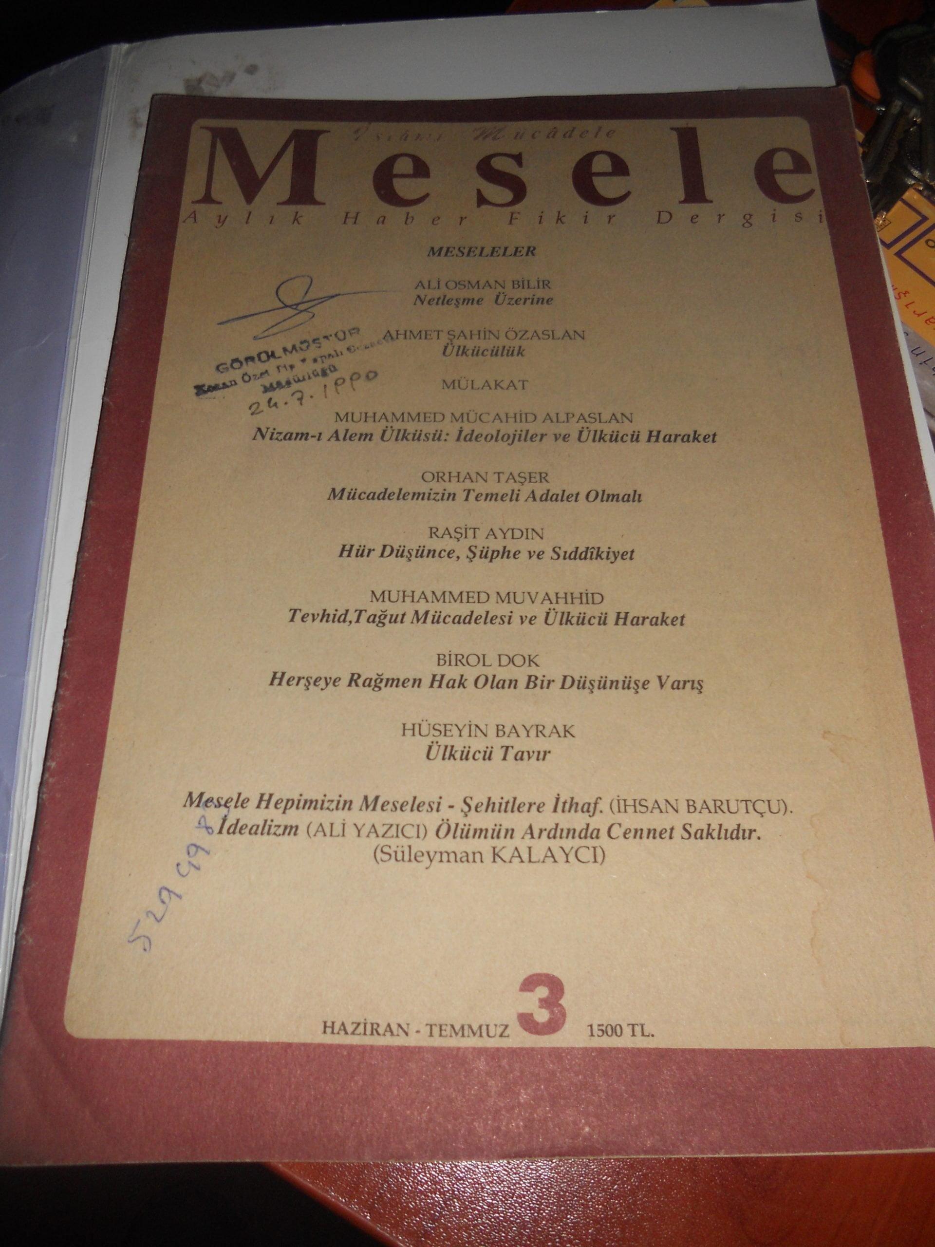 Mesele dergisi/1990/ 3 adet/ toplam.15 tl