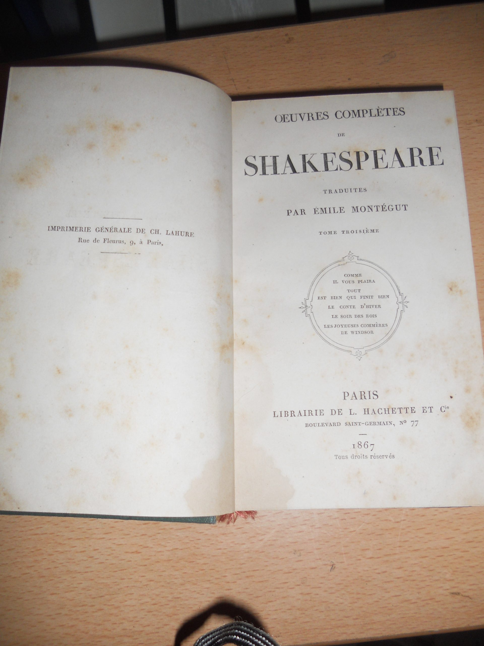 OEUVRES COMPLETES de SHAKESPEARE/50  TL