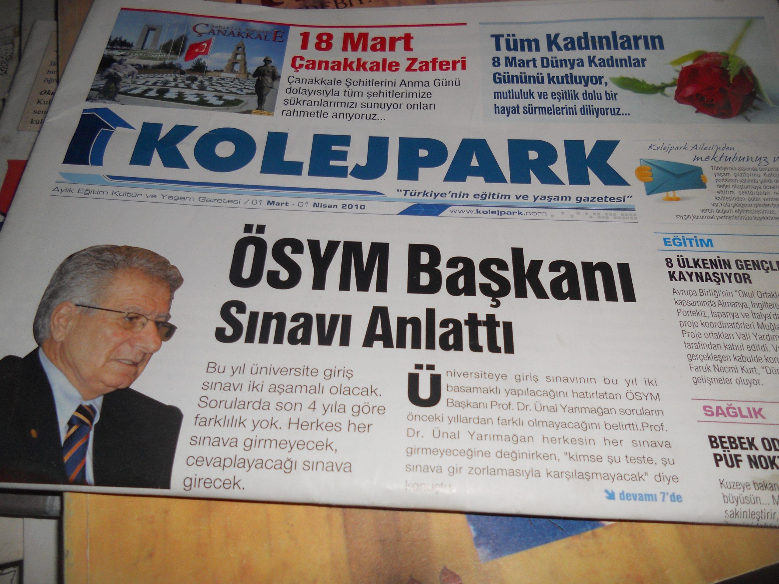 KOLEJPARK(aylık eğitim kültür ve yaşam  gazetesi)Hzrn 2010 / 5 tl