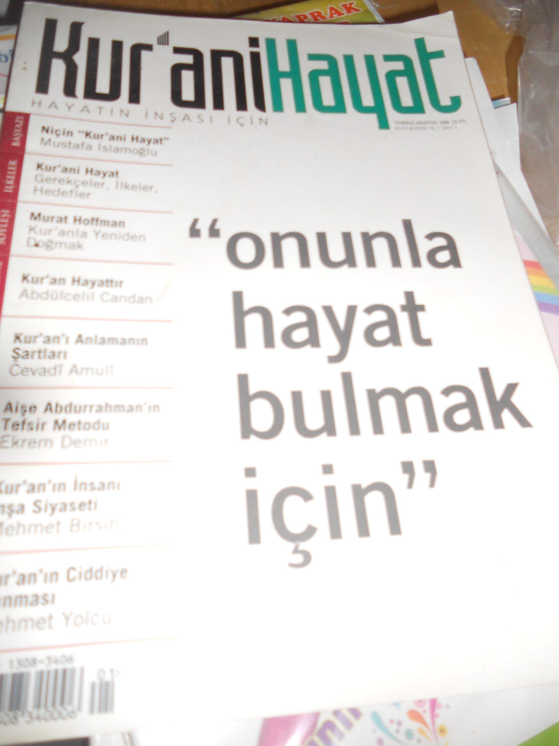 KUR'ANİ HAYAT/Ağustos 2008/ 10 tl
