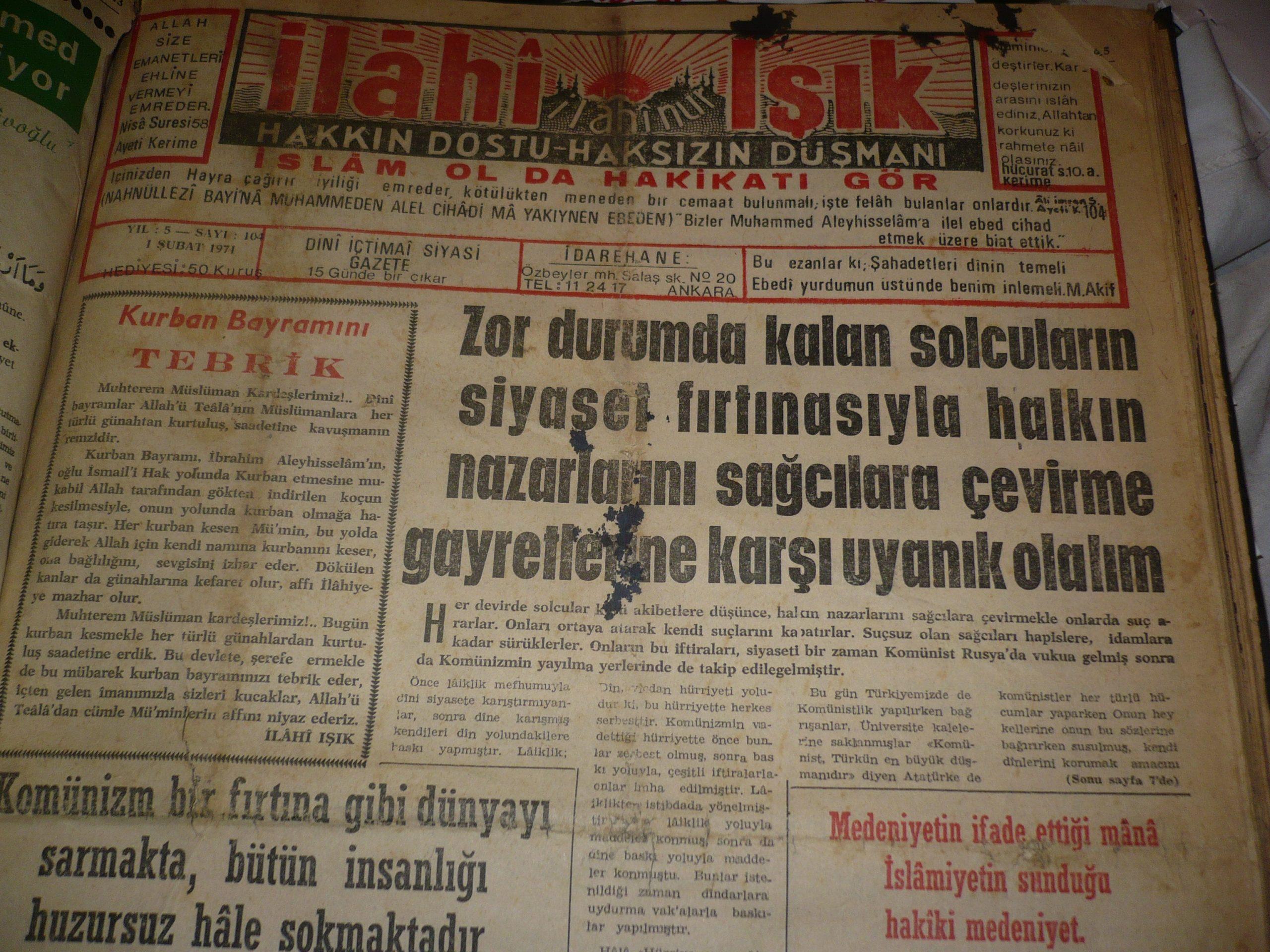 İLAHİ IŞIK/ 15 günde bir çıkan gazete/Kemal PİLAVOĞLU