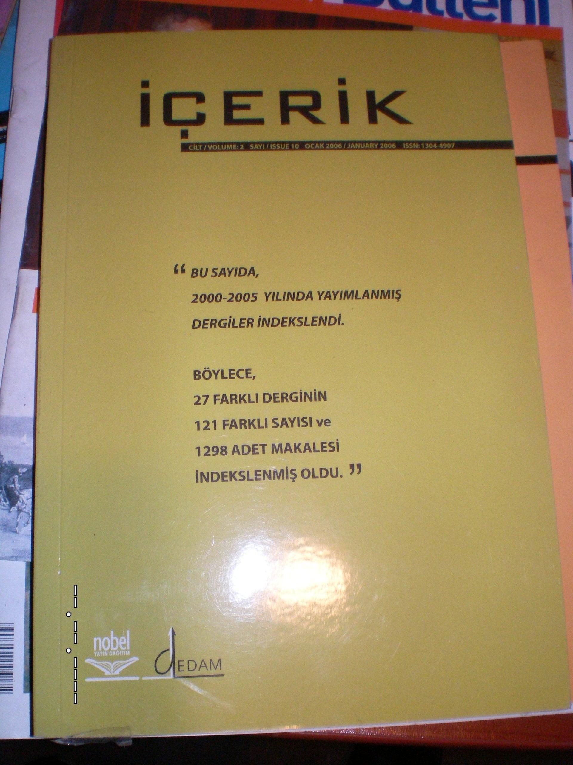 İÇERİK(TARAMA DERGİSİ)/sayı 1-2/2005-2006/ 2 dergi toplam.10 tl