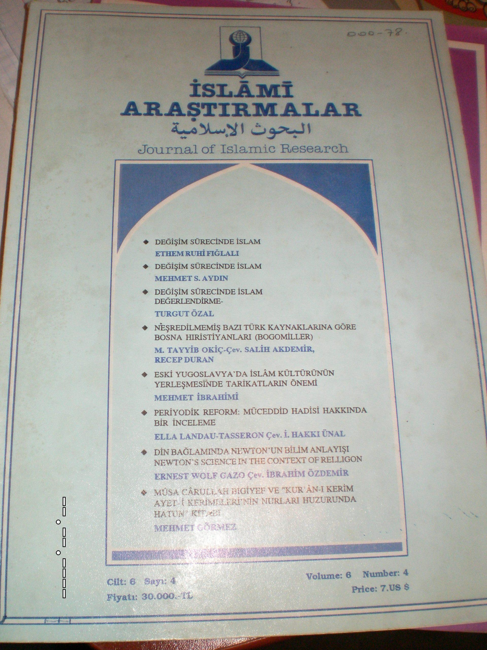 İSLAMİ ARAŞTIRMALAR DERGİSİ-4 adet/20 tl