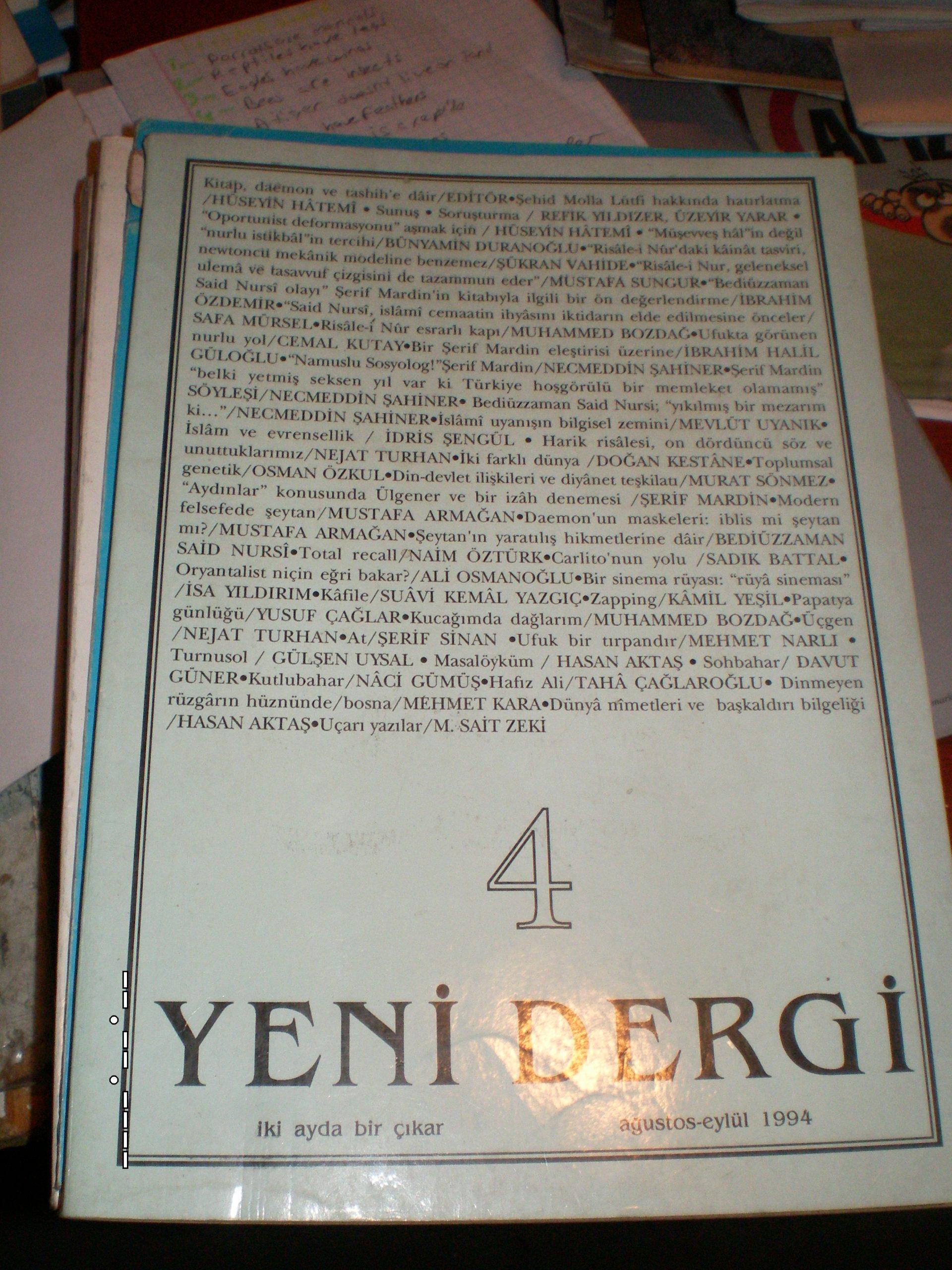 YENİ DERGİ-Sayı 4-1994/Said Nursi  üzerine/ 15tl