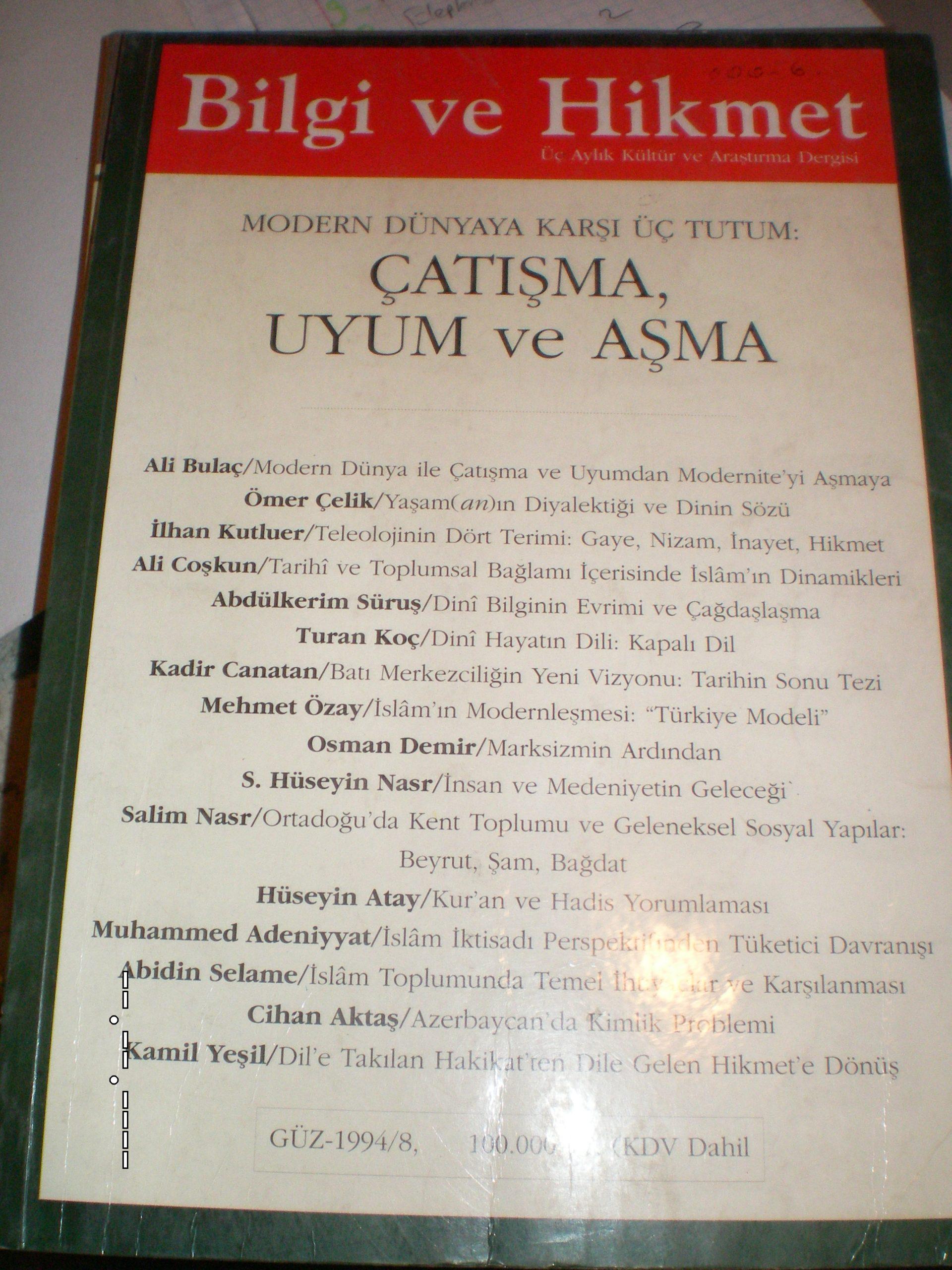 BİLGİ VE HİKMET Dergisi/1994-güz(s8)/ 10 tl