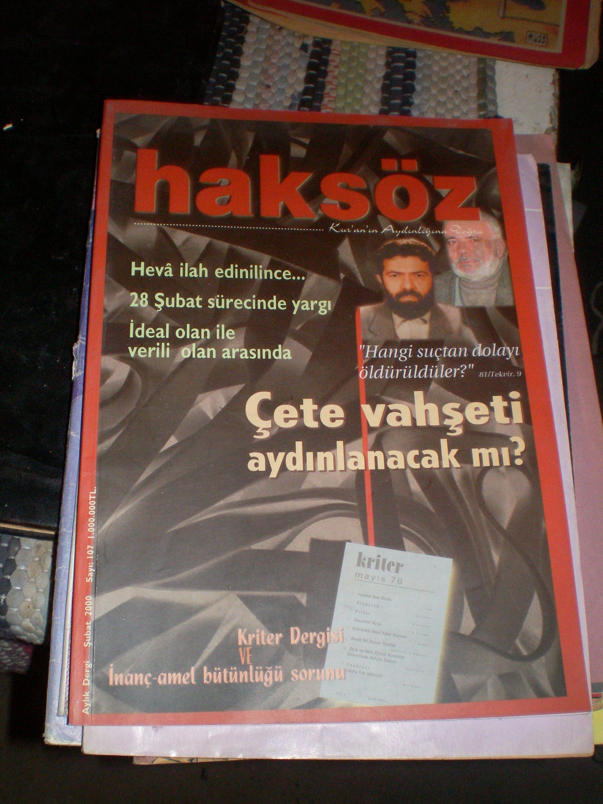 HAKSÖZ -AYLIK DERGİ-Şubat 2000-sayı 107-/ 5 TL