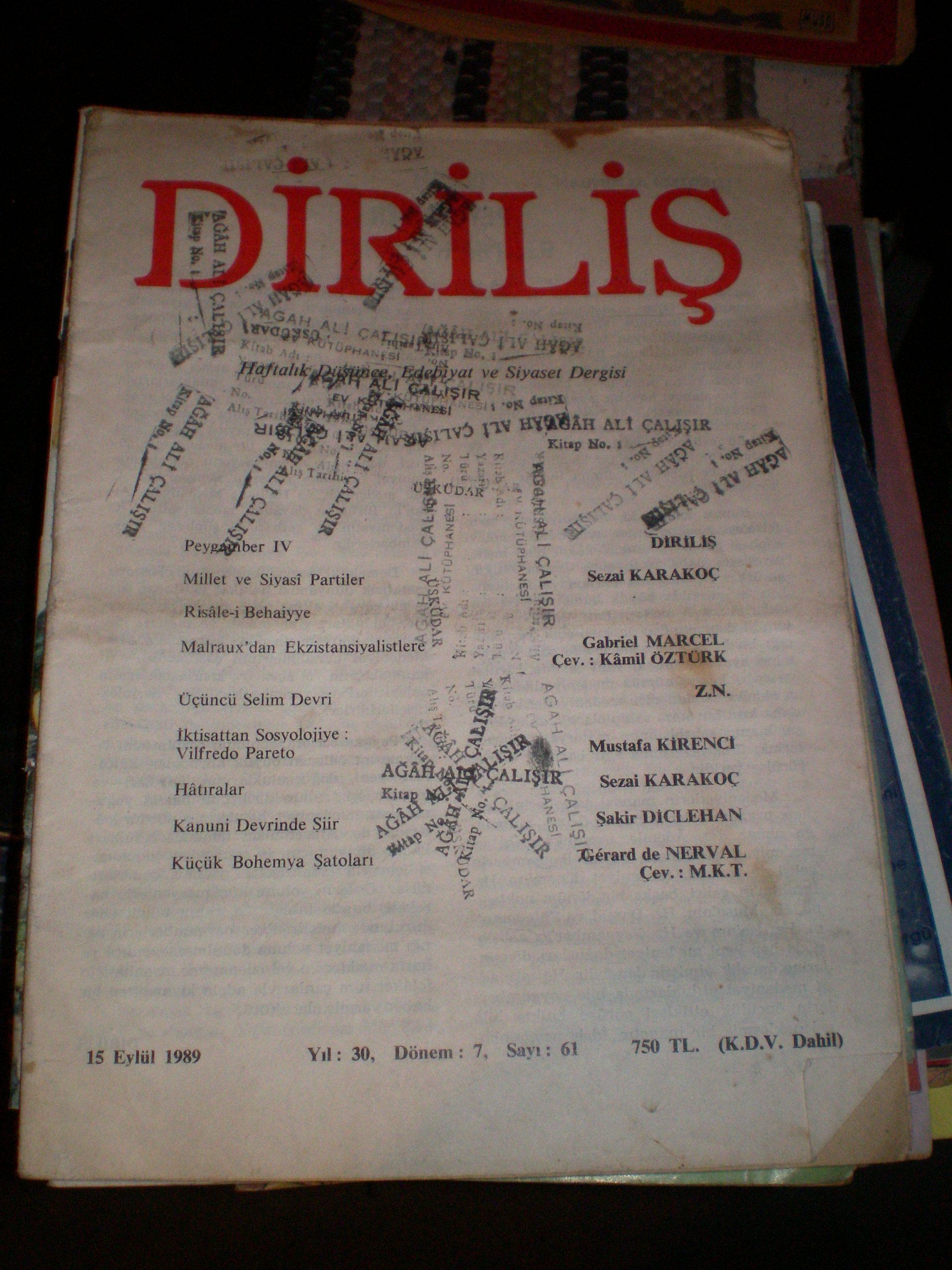DİRİLİŞ (15 Eylül1989/Sayı 73 1989) 2 ADET/Toplam 5 TL