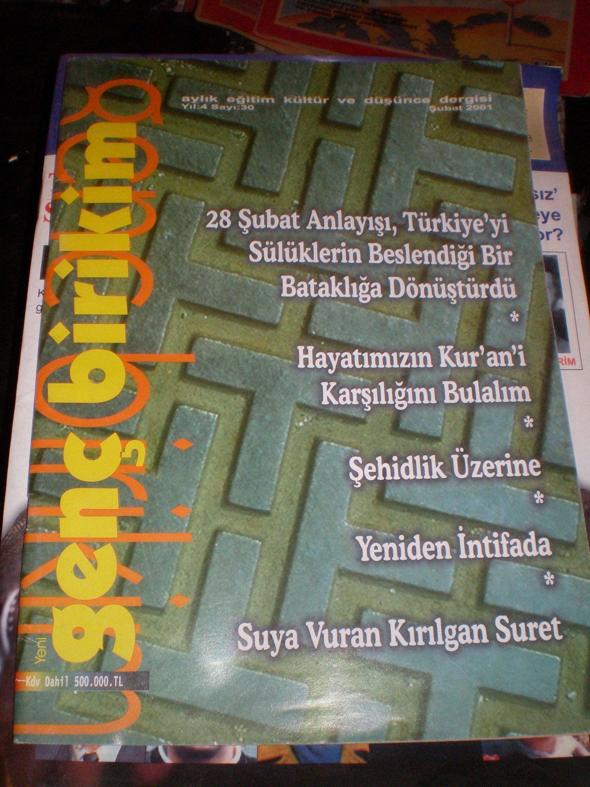 GENÇ BİRİKİM-Aylık eğitim-kültür-düşünce dergisi- ŞUBAT 2001sayı30/1 adet/5 tl